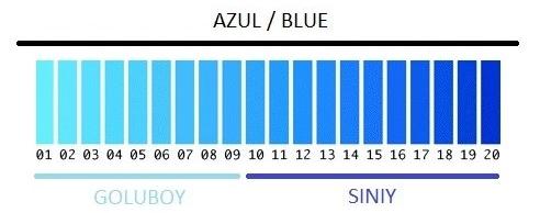 Azul com palavras